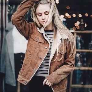 RARE Brandy Melville Elisha Fur Corduroy Jacket
